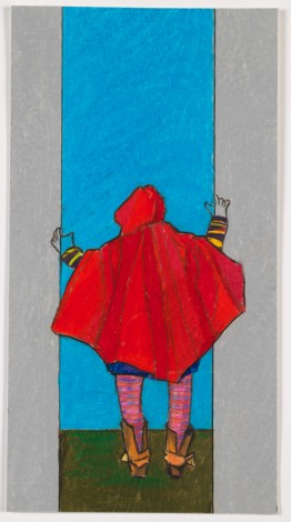 Caped Figure Looking Out